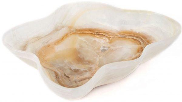 Ice-White & Brown Onyx Bowl