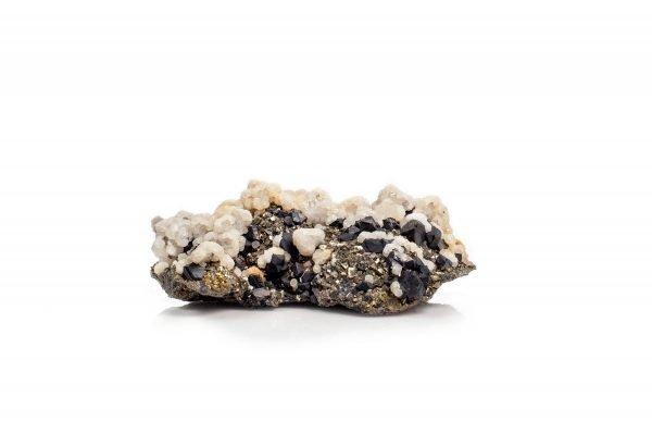 calcite and sphalerite on pyrite