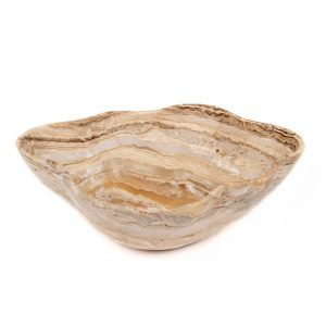White and Brown Onyx Bowl
