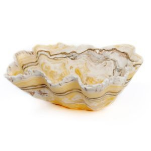 White and Yellow Rustic Onyx Bowl