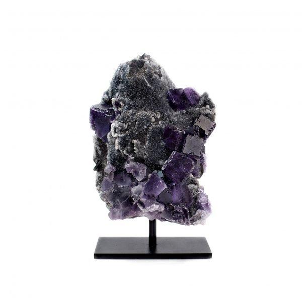 purple fluorite and black quartz