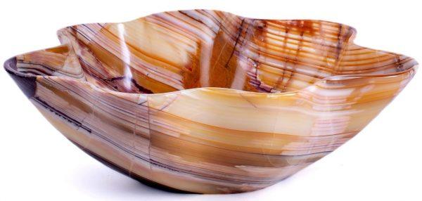 Tan & Brown Polished Onyx Bowl