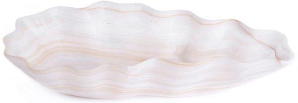 White & Brown Striped Onyx Bowl